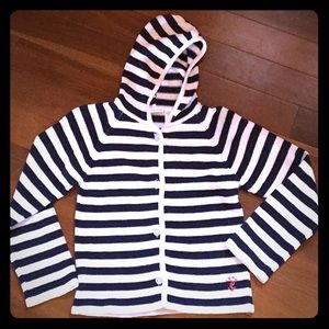 Navy & White Striped Hooded Izod Buttoned Sweater